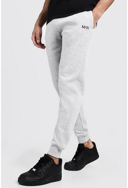 Joggings skinny brodé trait MAN, Gris, Homme