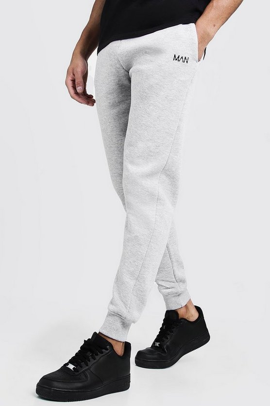 Mens Grey MAN Dash Embroidered Skinny Joggers