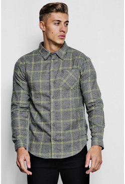 Mens Grey Long Sleeve Brushed Check Flannel Shirt