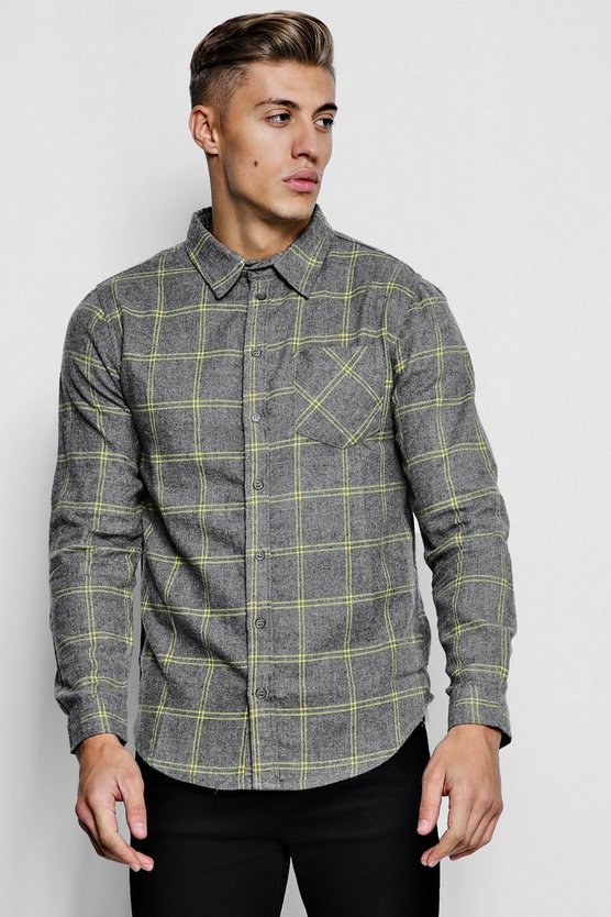 Long Sleeve Brushed Check Flannel Shirt