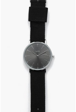Mens Grey Slim Gun Metal Face With Webbing Strap