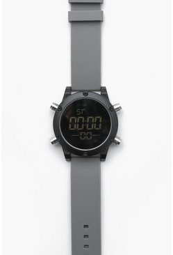 Mens Grey Chunky Sports Digi Watch