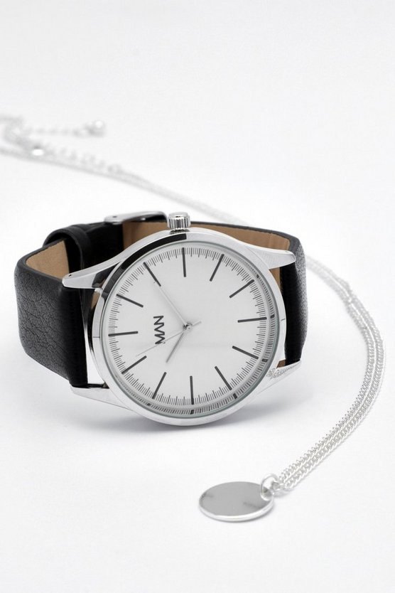 Black Strap Watch And Necklace Gift Set