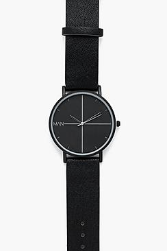 Triple Black PU Strap Watch