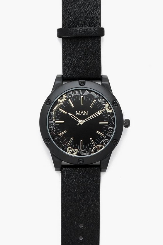 Mens Oversized Cog Detail Black Watch