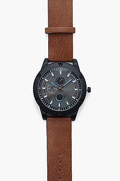 Oversized Black And Tan Watch