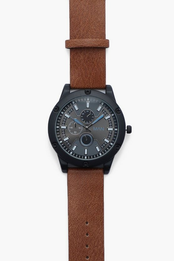 Oversized black and tan watch boohoo for Black tan watch