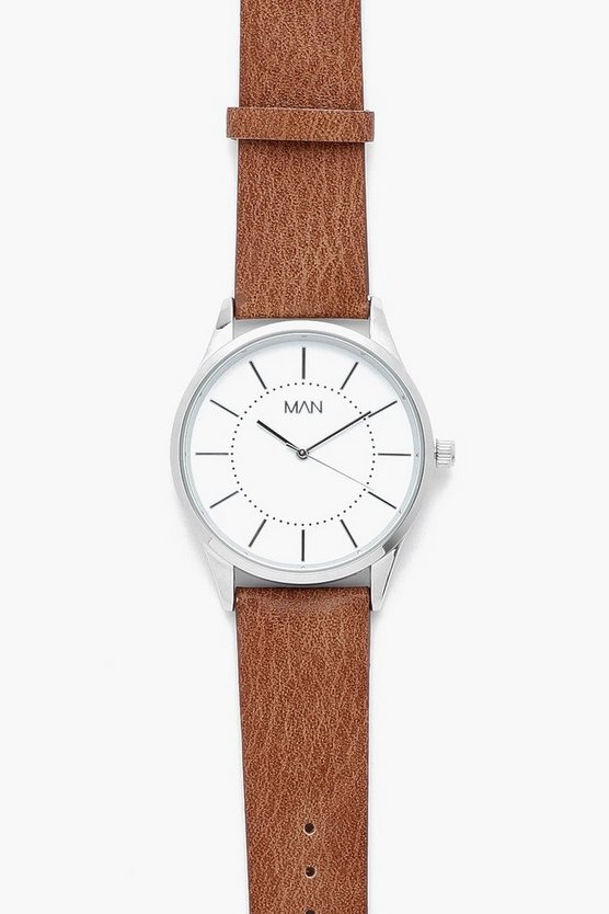 Classic Face Watch With Faux Leather Strap