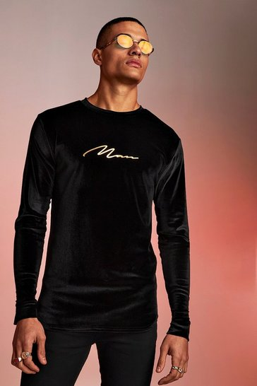 Mens Black MAN Signature Velour Long Sleeve Muscle Fit T-Shirt