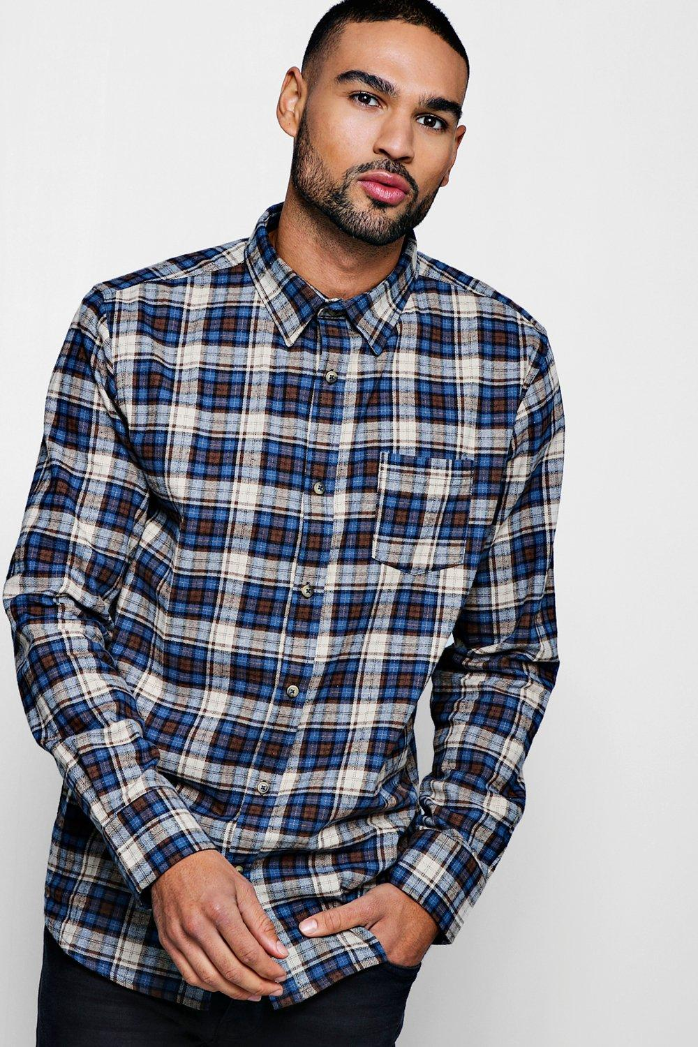 Long Sleeve Navy Buffalo Check Shirt