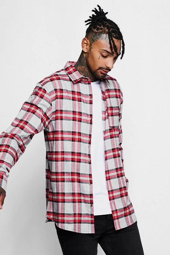 Long Sleeve Red And Yellow Check Shirt