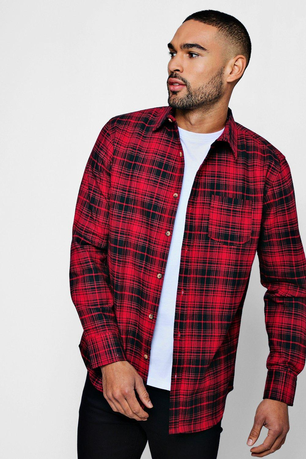 Long Sleeve Red And Black Check Shirt
