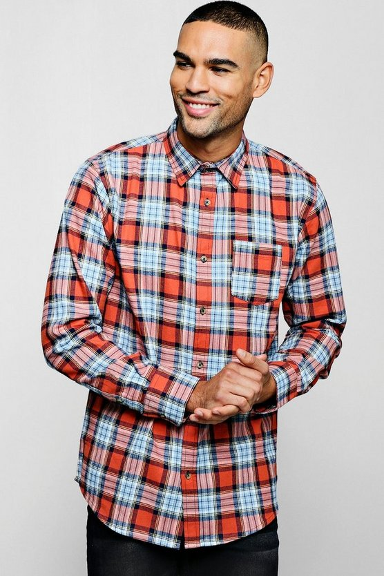 Long Sleeve Red And Blue Check Shirt