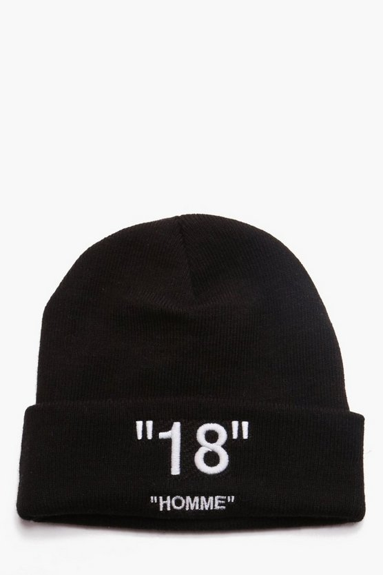 Man Certified 18 Homme Embroidered Beanie