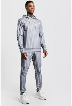 Mens Grey Stripe Printed Fleece Hooded Tracksuit