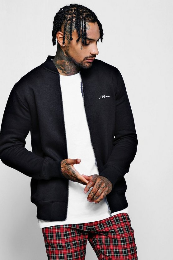 Man Signature Front and Back Embroidered Bomber