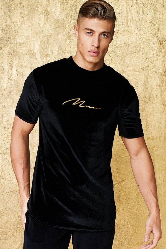 Gold Man Signature Embroidered Velour T-Shirt