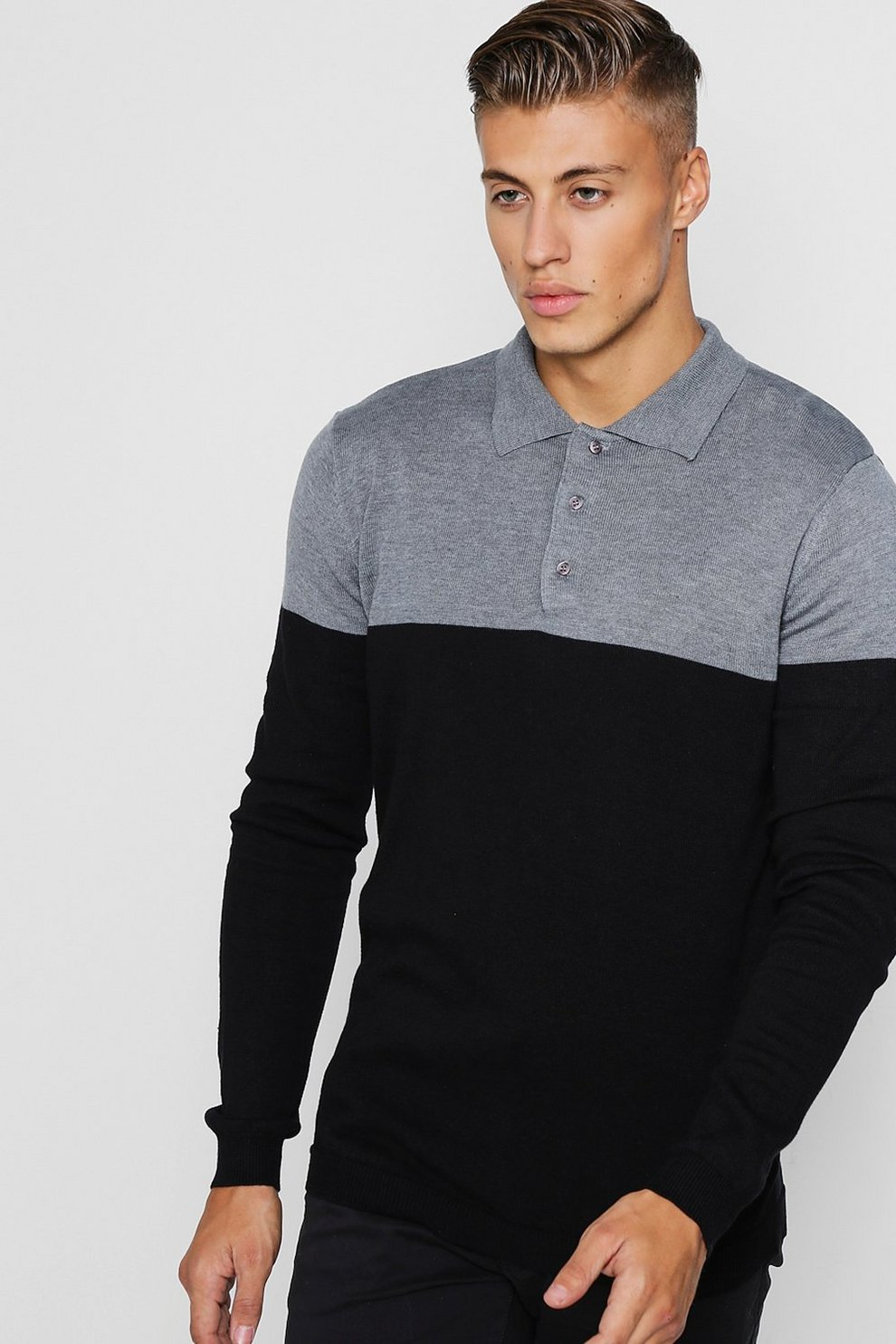 d8df9168 Slim Fit Colour Block Knitted Long Sleeve Polo | Boohoo