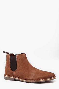 Real Suede Gum Sole Chelsea Boot