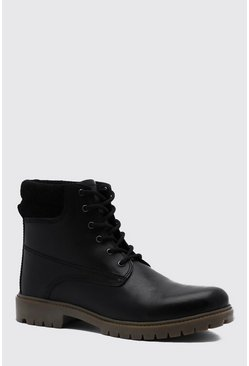 Mens Black Real Leather Worker Boot