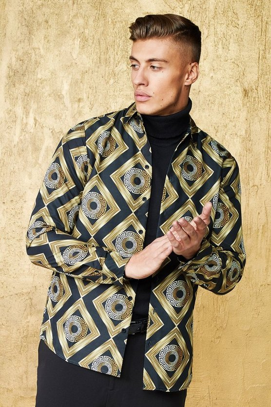 Baroque Tile Print Long Sleeve Satin Shirt