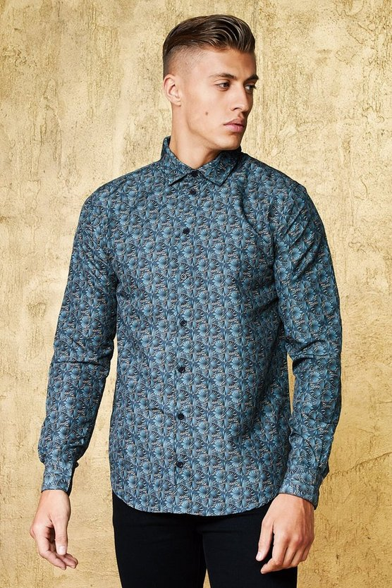 Baroque Leaf Print Long Sleeve Satin Shirt