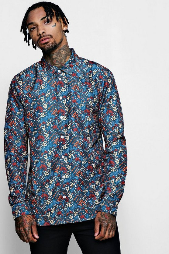 Mens Navy Autumnal Floral Print Long Sleeve Satin Shirt