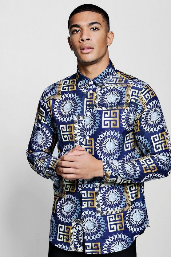 Baroque Print Long Sleeve Satin Shirt