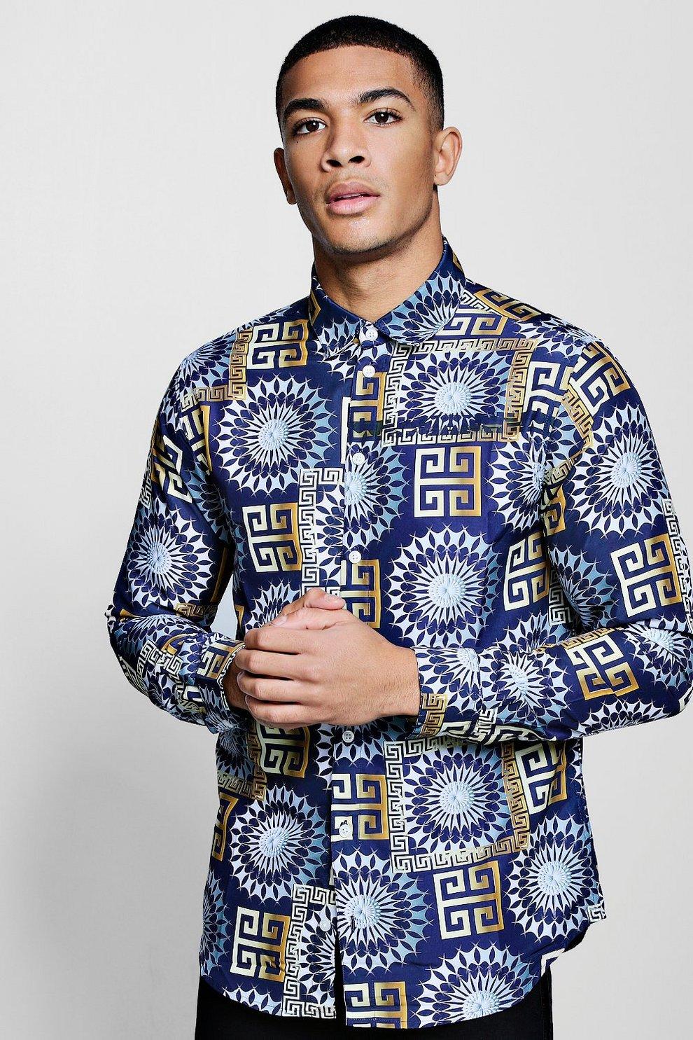 954b9ee2d6b Camisa en satén de manga larga con estampado barroco