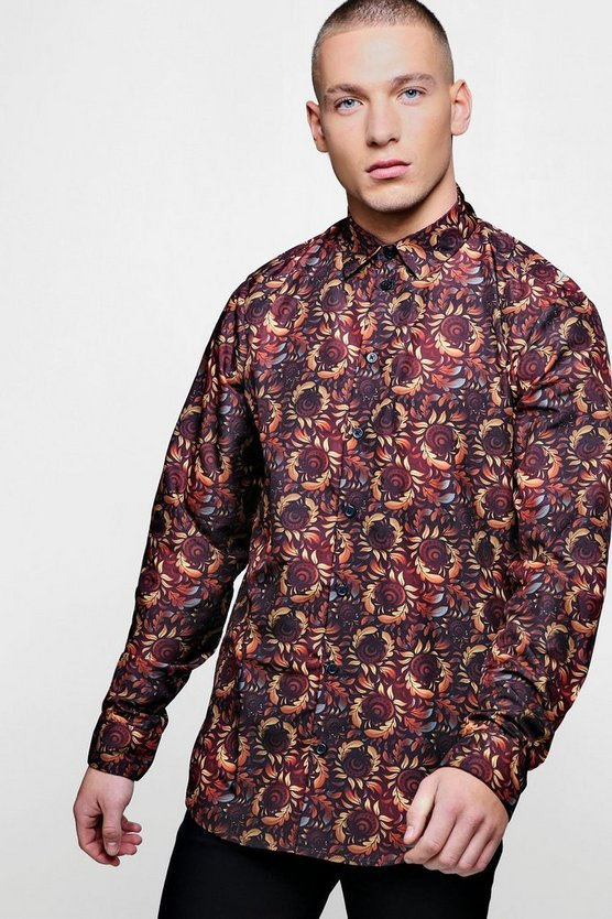 Autumnal Leaf Print Long Sleeve Satin Shirt