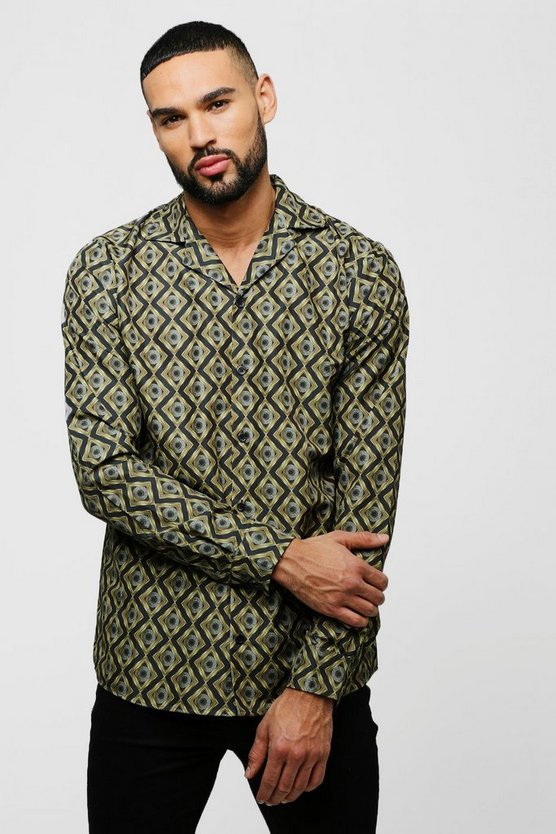 Mens Black Baroque Print Long Sleeve Revere Shirt