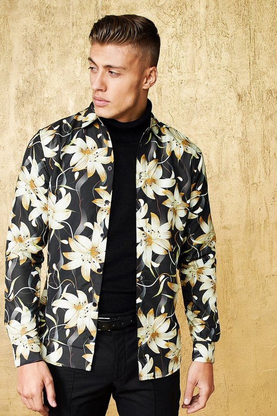 Gold Floral Print Long Sleeve Satin Shirt