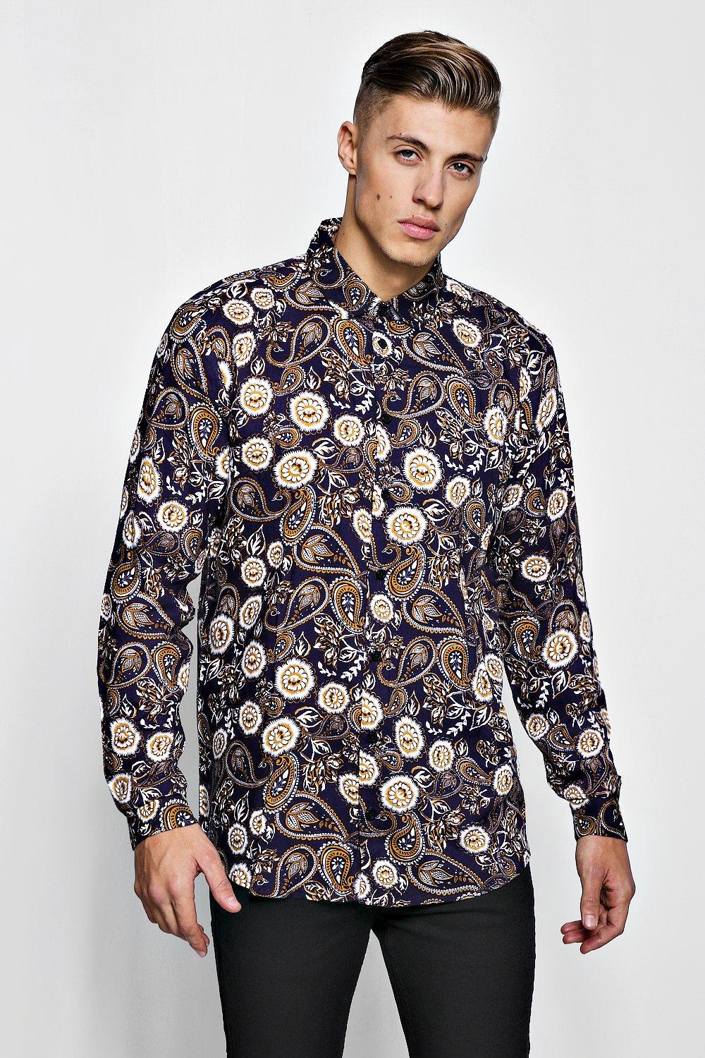 Paisley Print Long Sleeve Viscose Shirt