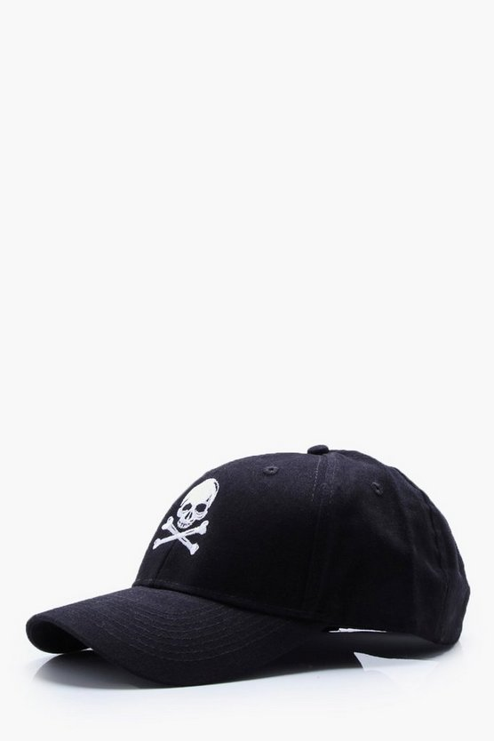 Black Halloween Skull Embroidery Cap