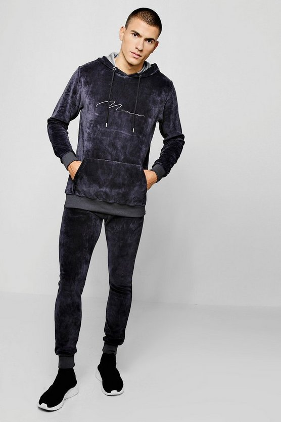 MAN Signature Velour Tracksuit, Charcoal, Uomo