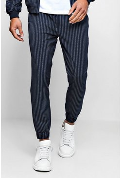 Mens Navy Pinstripe Smart Jogger