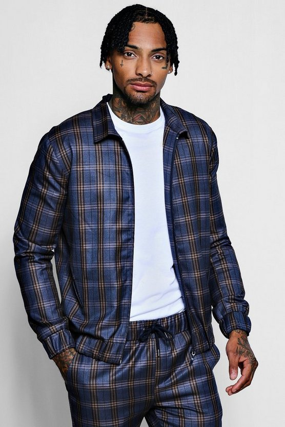 Navy Heritage Check Smart Coach Jacket