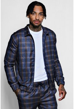 Heritage Check Smart Coach Jacket, Navy, Uomo