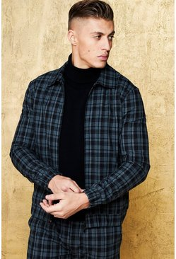 Mens Black Grid Check Smart Coach Jacket
