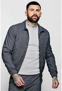 Mens Navy Jaspe Check Smart Coach Jacket