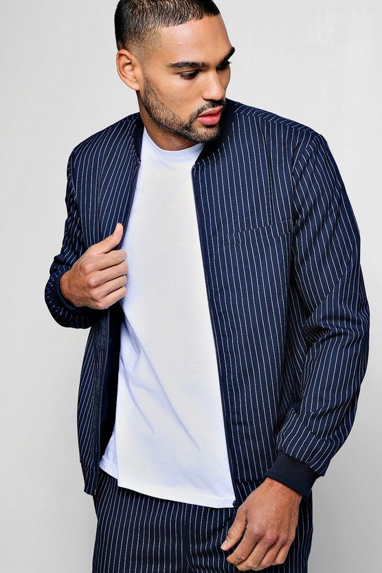Pinstripe Smart Bomber Jacket