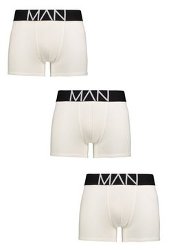 3 Pack MAN Contrast Waistband Boxers, White, HOMBRE