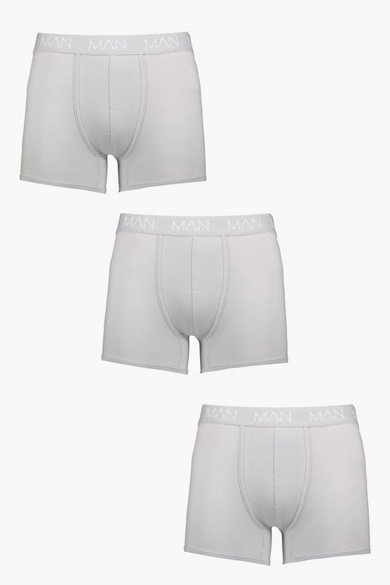 Mens Grey 3 Pack Grey MAN Dash Boxers