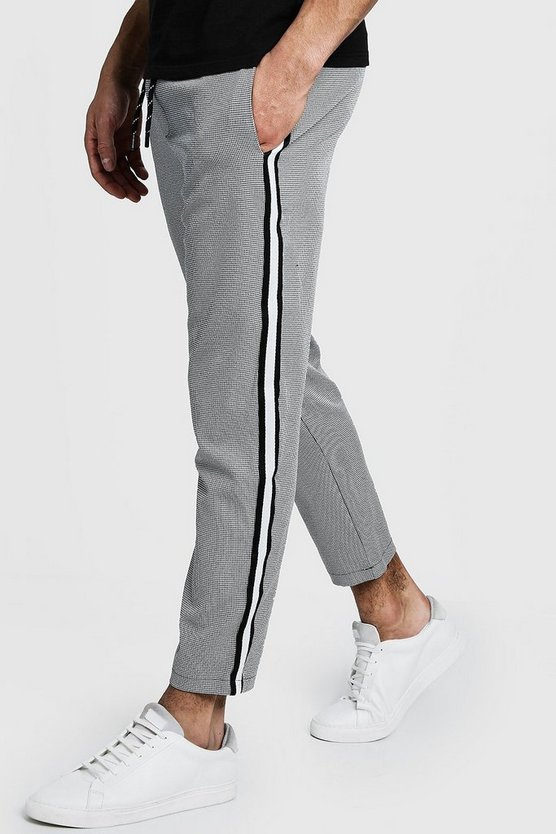 Cropped Dogtooth Slim Fit Jogger With Side Tape