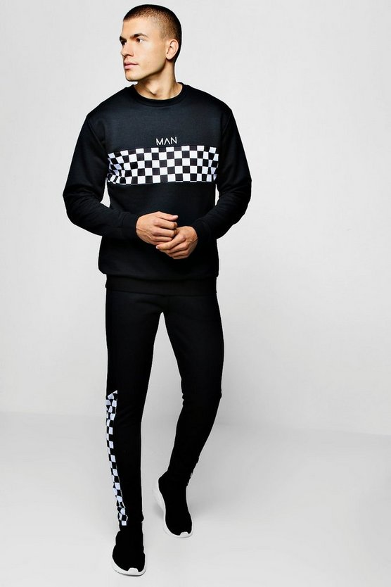 Checkerboard Panel Sweater Man Tracksuit