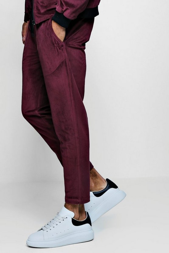 Velour Pin Tuck Smart Jogger Cropped
