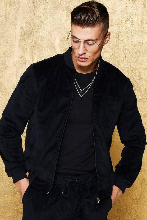 Velour Smart Bomber Jacket