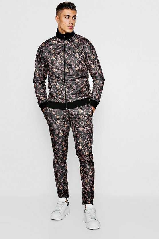 Abstract Print Funnel Neck Tracksuit