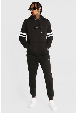 Mens Black Man Signature Hooded Contrasting Panel Tracksuit