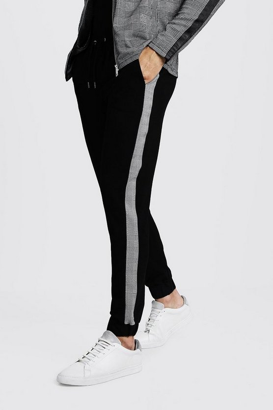 Cropped Side Panel Crepe Jogger